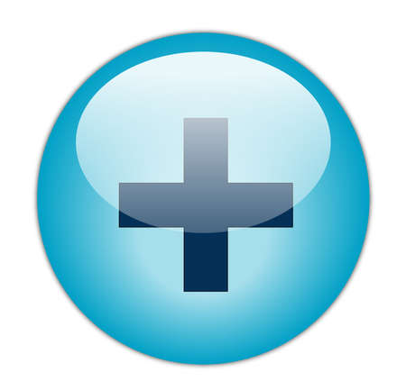 Glassy Aqua Blue Plus Icône Butoon