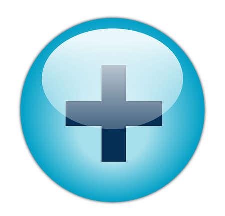 Glassy Aqua Blue Plus Icoon Butoon
