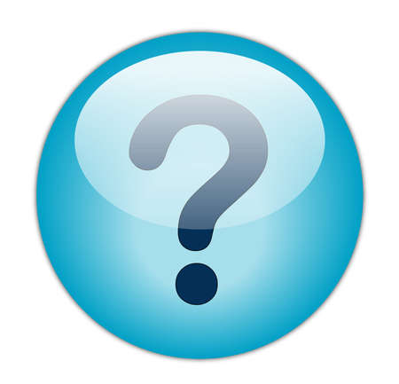 Glassy Aqua Blue Question Mark Icon Button photo