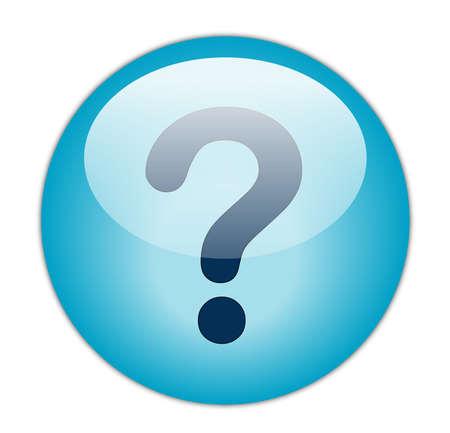 Glassy Aqua Blue Question Mark Icon Button photo
