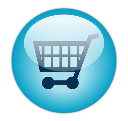 carro supermercado: Glassy Aqua Blue Compras Icono de bot�n Foto de archivo
