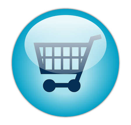 supermarket cash: Glassy Aqua Blue Shopping Cart Icon Button