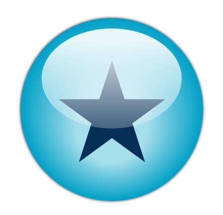 Glassy Aqua Blue Star Icon Button