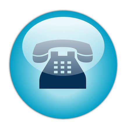 Glassy Aqua Blue Telephone Icon Button