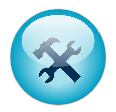 Glassy Aqua Blue Tools Icon Button photo
