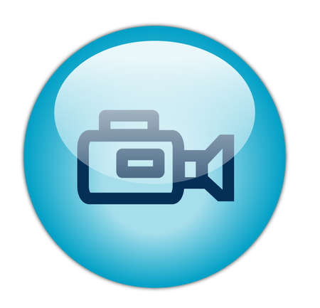 Glassy Aqua Blue Video Camera Icon Button photo