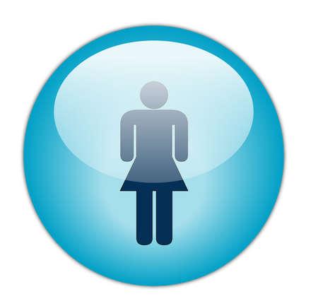 Glassy Aqua Blue Women Icon Button Stock Photo - 13975123