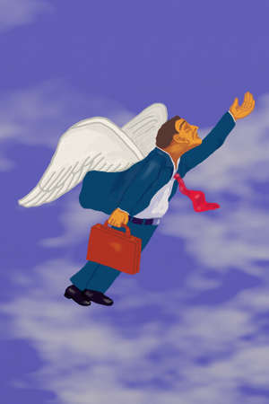 flying man: Professional Flying High With Wings Stock Photo