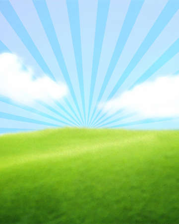 Green Landscape with Blue Sky and Clouds
