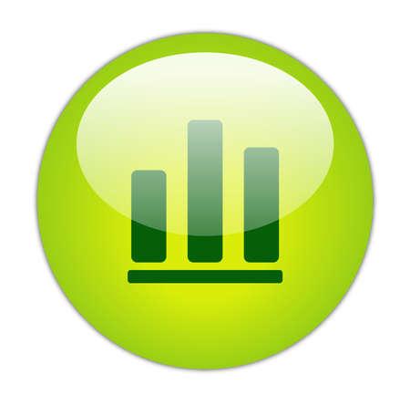 Glassy Green Bar Graph Icon Button Stock Photo
