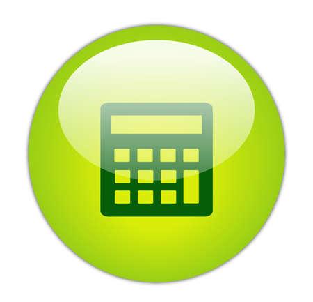 Glassy Green Calculator Icon Button