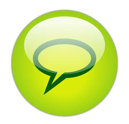 Glassy Green Elliptical Chat Icon Button Stock Photo