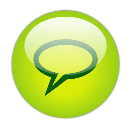 conversing: Glassy Green Elliptical Chat Icon Button Stock Photo
