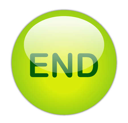 Glassy Green End Button Stock Photo - 14864159