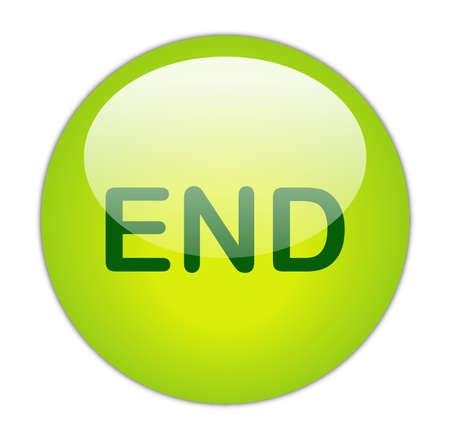 glassy: Glassy Green End Button Stock Photo