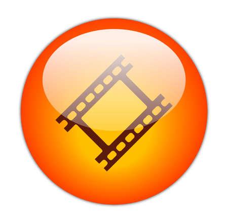 Glassy Red Film Strip Icon Button Stock Photo