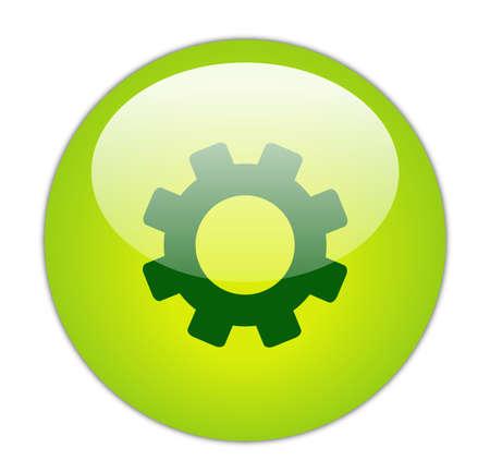 Glassy Green Gear Icon Button