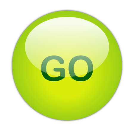 proceed: Glassy Green Go Button Stock Photo