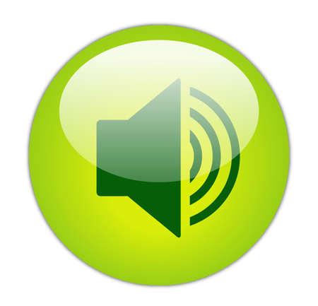 Glassy Green Increase Volume Icon Button Stock Photo