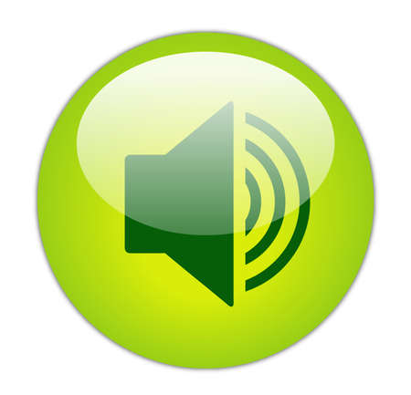 loud speaker: Glassy Green Increase Volume Icon Button Stock Photo