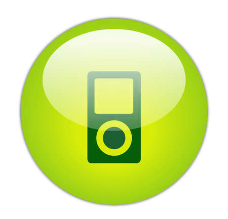 portable player: Glassy Green Music Player Icon Button Stock Photo