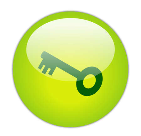 Glassy Green Key Icon Button Stock Photo - 14860459