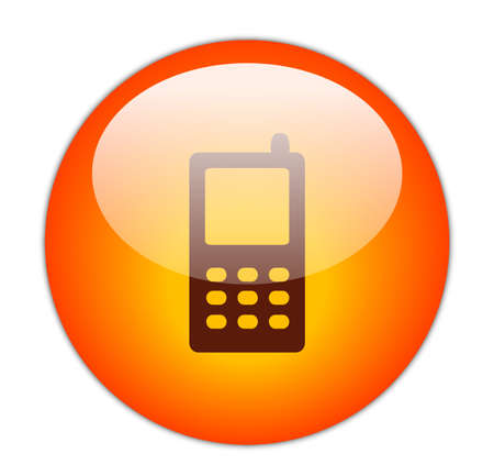 Glassy Red Mobile Phone Icon Button