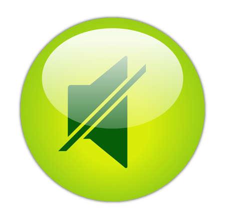 glassy: Glassy Green Mute Icon Button Stock Photo