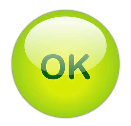 Glassy Green Ok Button Stock Photo - 14859621