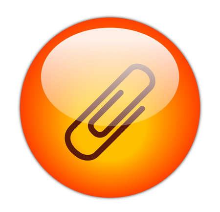 Glassy Red Attachment Icon Button Stock Photo