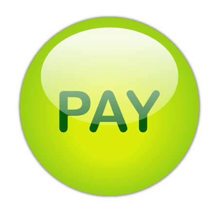 Glassy Green Pay Button Stock Photo