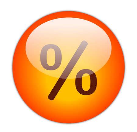 Glassy Red Percent Icon Button Stock Photo