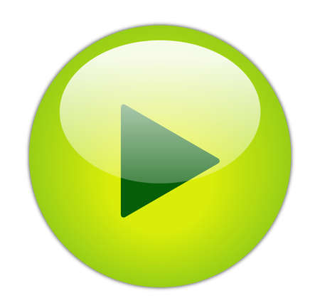Glassy Green Play Icon Button