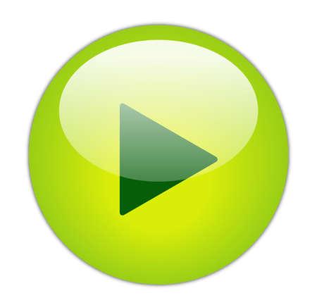 glassy: Glassy Green Play Icon Button