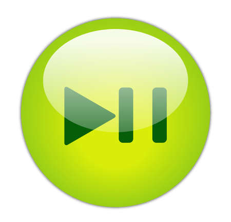 Glassy Green Play Pause Icon Button Stock Photo