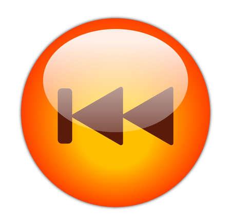 Glassy Red Previous Icon Button
