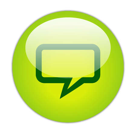 Glassy Green Rectangular Chat Icon Button