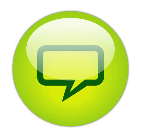 conversing: Glassy Green Rectangular Chat Icon Button