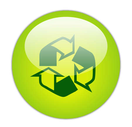 Glassy Green Recycle Outline and Fill Icon Button