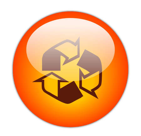 Glassy Red Recycle Outline and Fill Icon Button