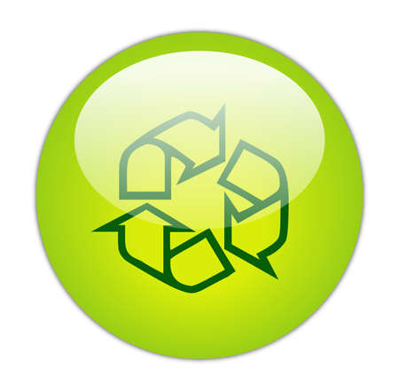 Glassy Green Recycle Outline Icon Button Stock Photo