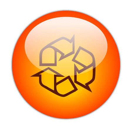Glassy Red Recycle Outline Icon Button Stock Photo
