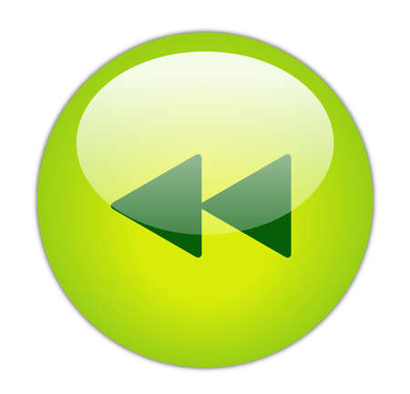 rewind icon: Glassy Green Rewind Icon Button