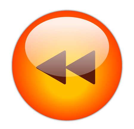 reverse: Glassy Red Rewind Icon Button