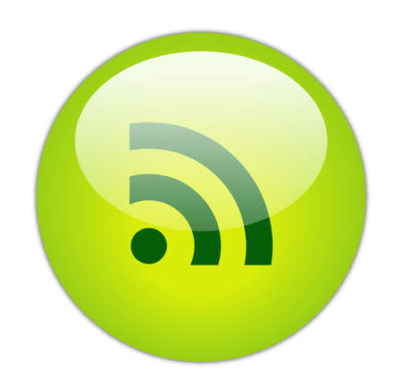 really simple syndication: Glassy Green RSS Icon Button Stock Photo