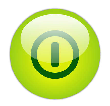 Glassy Green Switch Off Icon Button photo