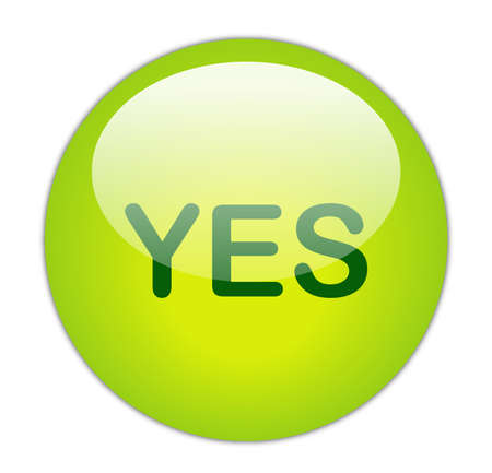Glassy Green Yes Button Stock Photo