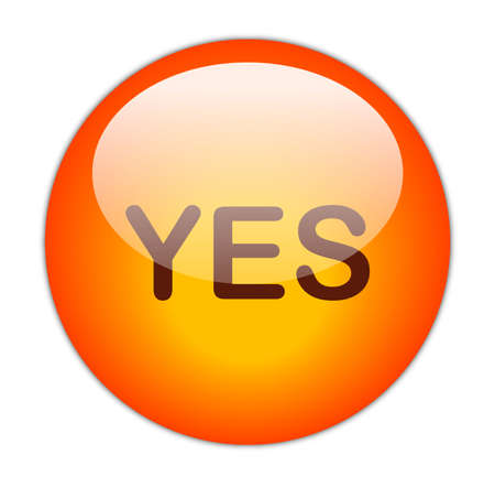 Glassy Red Yes Button Stock Photo - 15271240