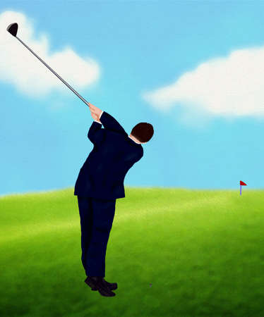 Businessman Playing Golf  Stock Photo