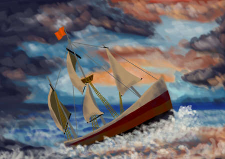 falling tide: Painting of a ship in the storm